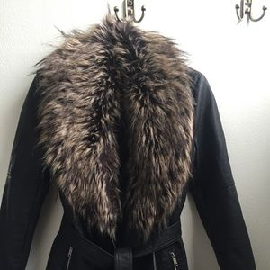 Warehouse Faux Leather and Faux Fur Collar Jacket